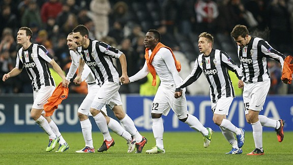 Juventus celebrate after their win at Shakhtar